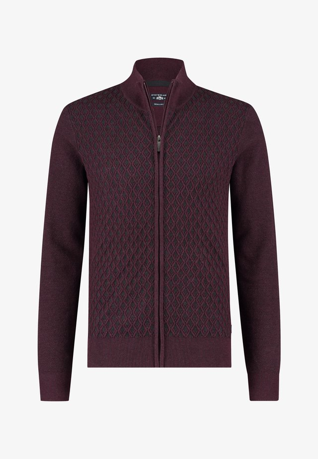 Cardigan - wine red/charcoal