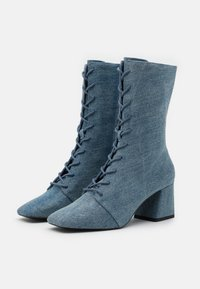 Monki - VEGAN THELMA BOOT - Lace-up ankle boots - blue denim - 2