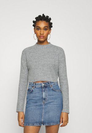 HIGH CROPPED RIB JUMPER - Strikkegenser - mottled grey