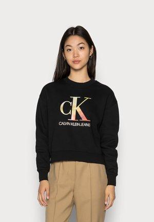 SATIN BONDED BLURRED CREWNECK - Sweatshirt - black