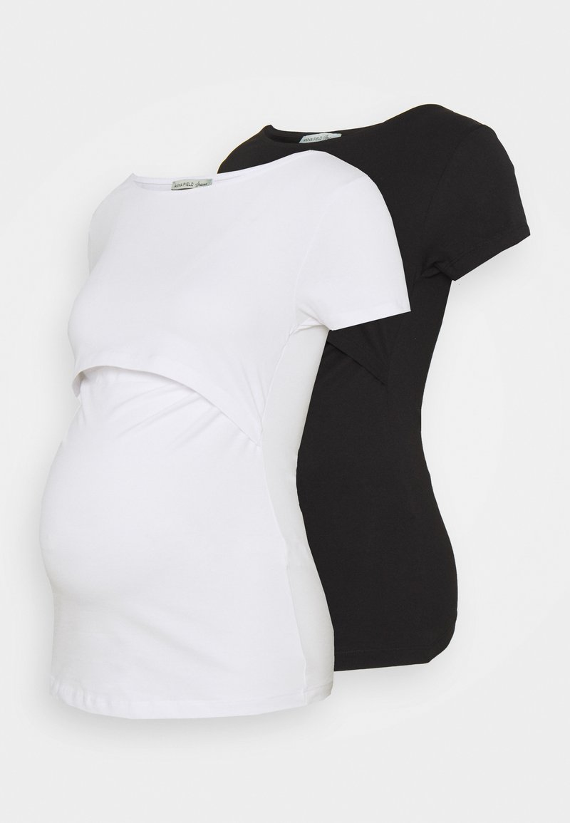 Anna Field MAMA - NURSING 2er PACK - Basic T-shirt - Basic T-shirt - black/white