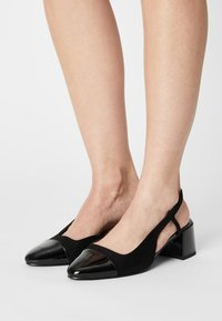 Dorothy Perkins Wide Fit - WIDEDALTON SLING COURT - Escarpins - black patent mix - 0