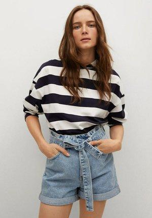 MIT SCHLEIFE - Jeans Shorts - mittelblau