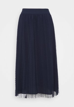 MESH CRINKLE DOT - A-line skirt - new navy