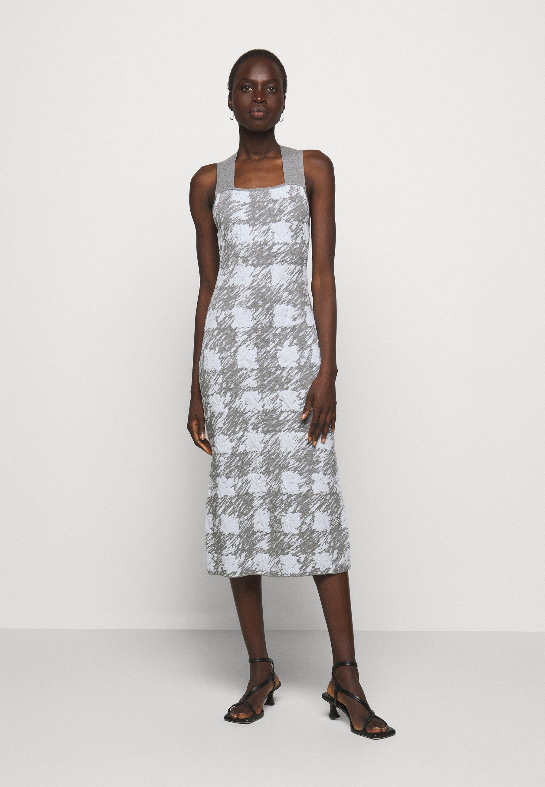 Women GINGHAM JACQUARD KNIT DRESS - Jumper dress