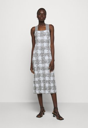 GINGHAM JACQUARD KNIT DRESS - Jumper dress - grey melange/sky