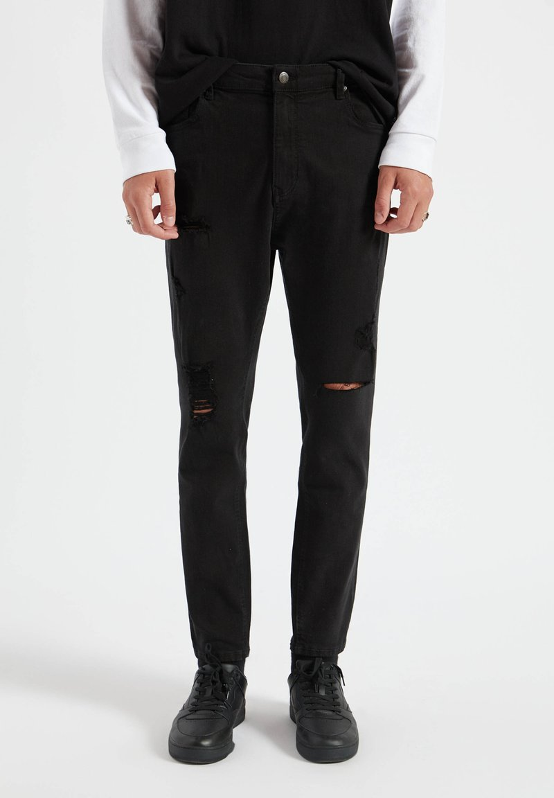 PULL&BEAR - Jeans Tapered Fit - mottled black