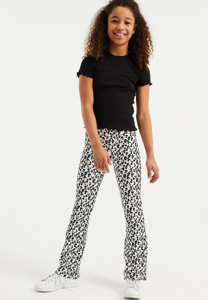 WE Fashion - MET LUIPAARDDESSIN - Legging - off-white