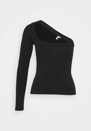 ONE SLEEVE CUT TOP - Long sleeved top - black