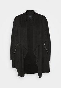 CAPSULE by Simply Be - LONGLINE WATERFALL JACKET WITH PANEL SLEEVE - Short coat - black - 4