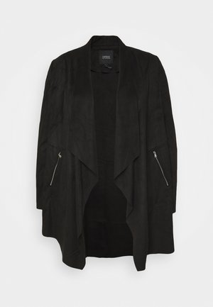 LONGLINE WATERFALL JACKET WITH PANEL SLEEVE - Short coat - black