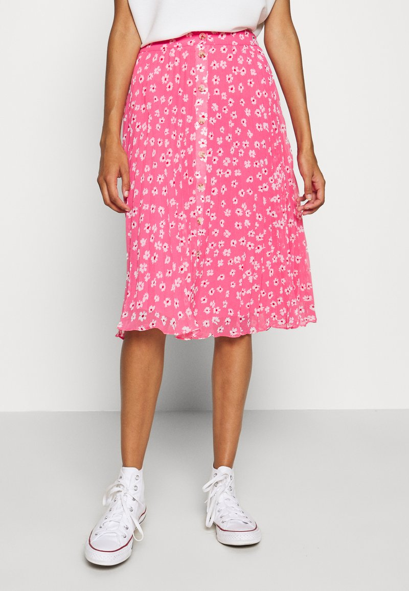 Tommy Jeans - PLEATED BUTTON THRU SKIRT - A-line skirt - glamour pink