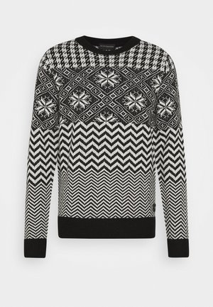 LIGHTWEIGHT  FAIR ISLE PULL - Stickad tröja - black,white