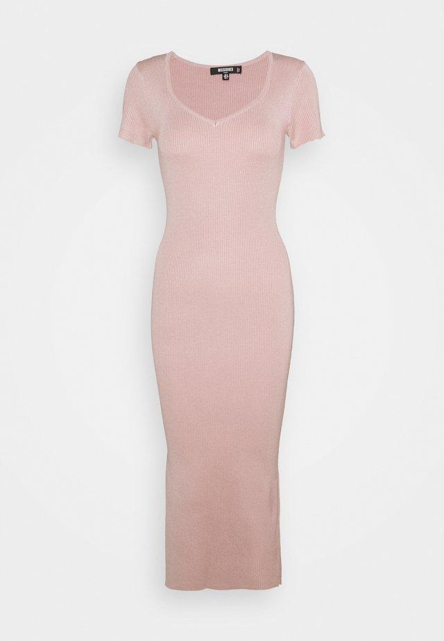 SHORT SLEEVE DRESS - Stickad klänning - blush