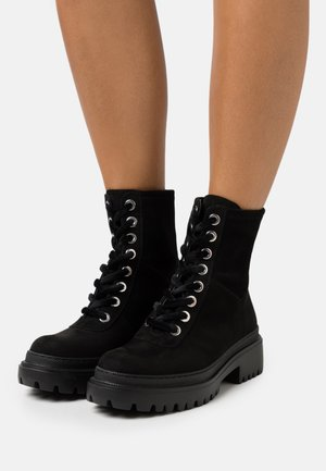 VEGAN ISOLDA - Platform ankle boots - black