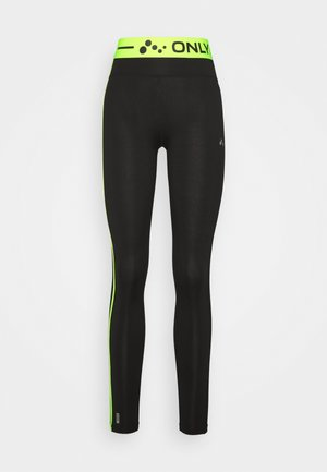 ONPJACEI ATHL TIGHTS TALL - Leggings - Trousers - black saftey yellow