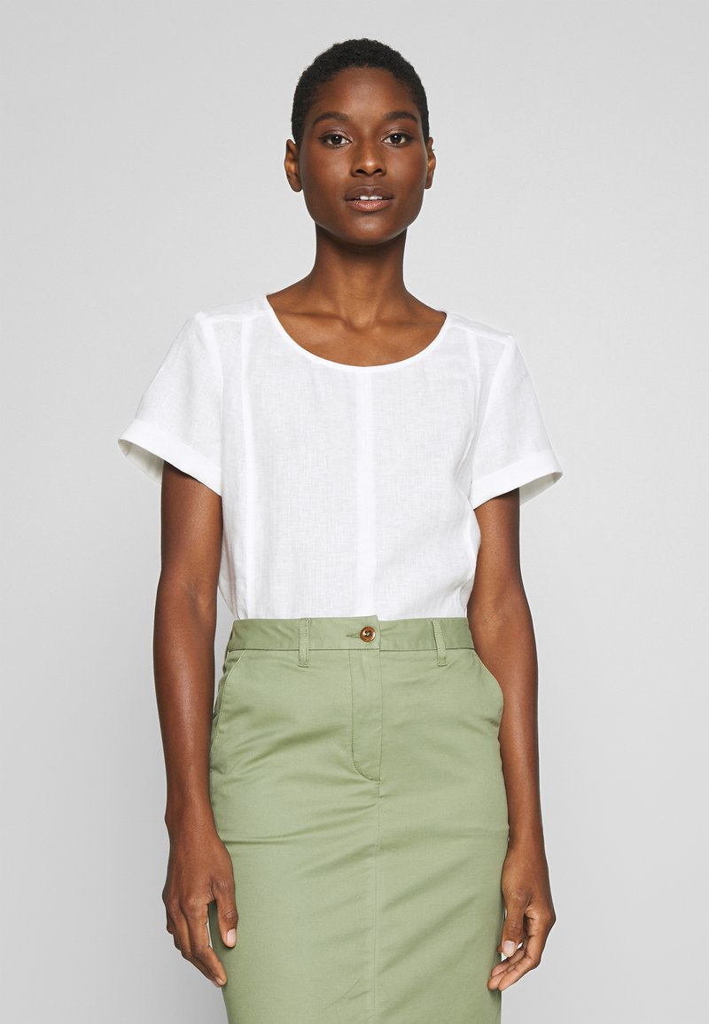 Marc O'Polo PURE - SHORT SLEEVE LOOSE FIT HYBRID STYLE - Blouse - clear white