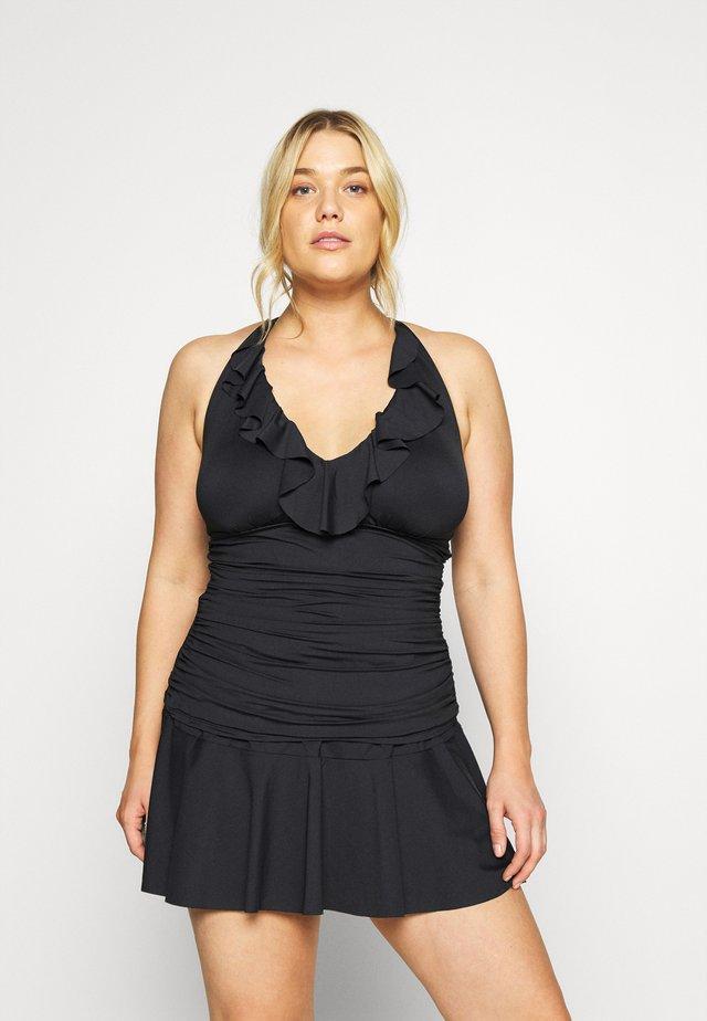 RUFFLE HALTERKINI - Bikini pezzo sopra - black