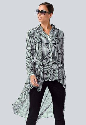 Button-down blouse - weiß,schwarz