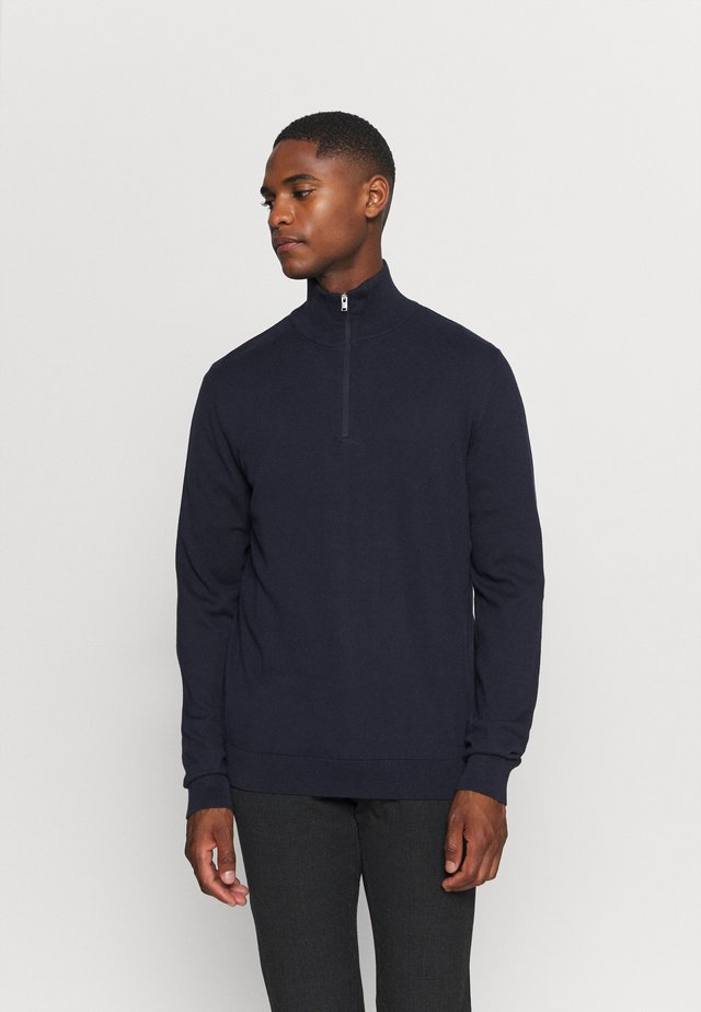 SLHBERG HALF ZIP  - Stickad tröja - navy blazer