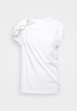 GATHERED TANK RING - T-shirt con stampa - white