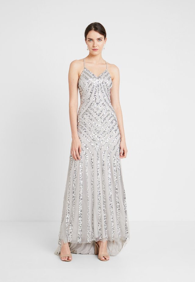 ALL OVER EMBELLISHED WITH TRAIN - Abito da sera - soft grey