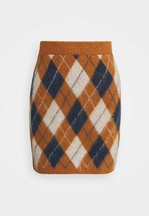 ARGYLE SKIRT - Mini skirt - tan/navy/off white