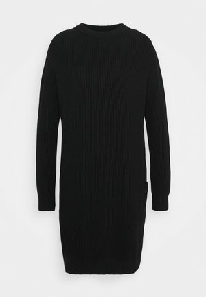 DRESS WITH LONG SLEEVE AND BUTTON PLACKET ON SIDE SEAM - Pletené šaty - black