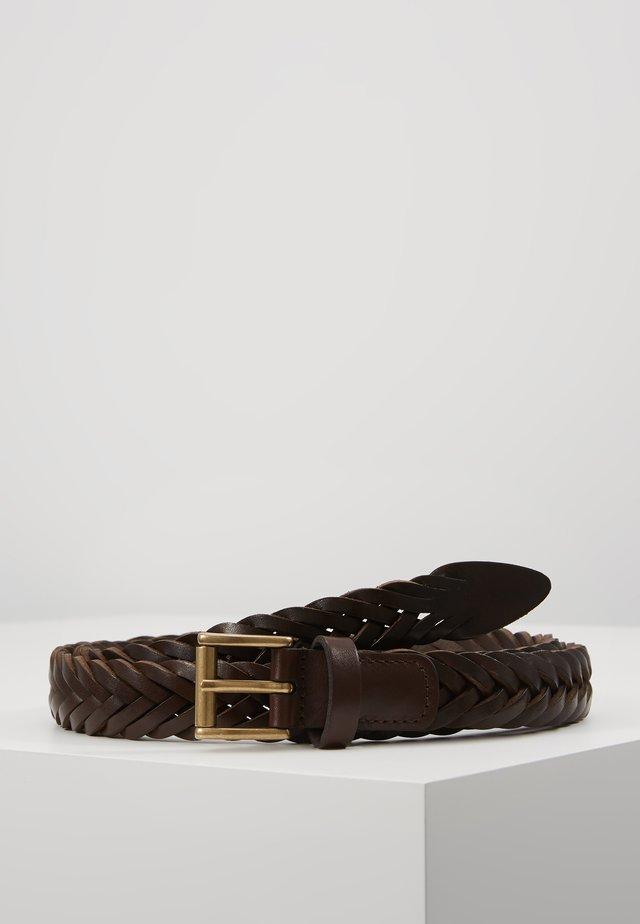 BELT - Palmikkovyö - dark brown