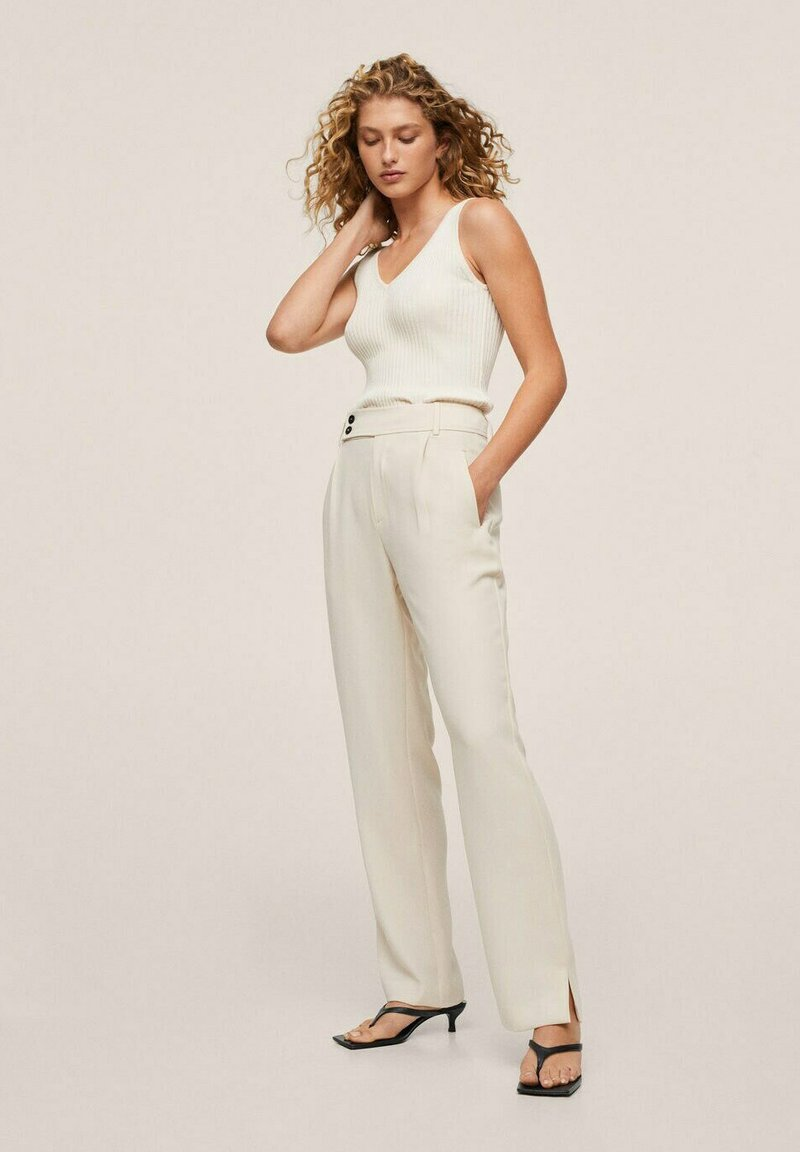 Mango - MED PRESS - Trousers - offwhite