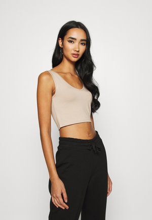 V NECK CROP - Top - beige