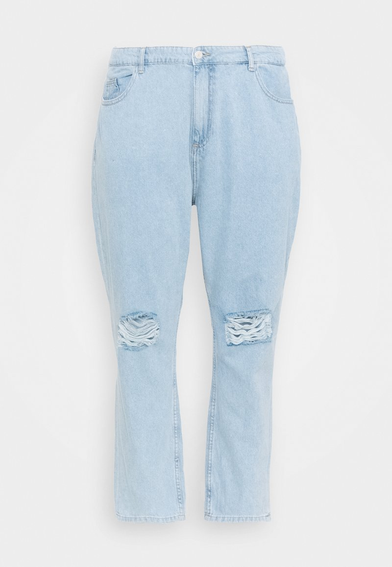 Noisy May Curve - NMCARA DONNA DESTROY - Straight leg jeans - light blue denim