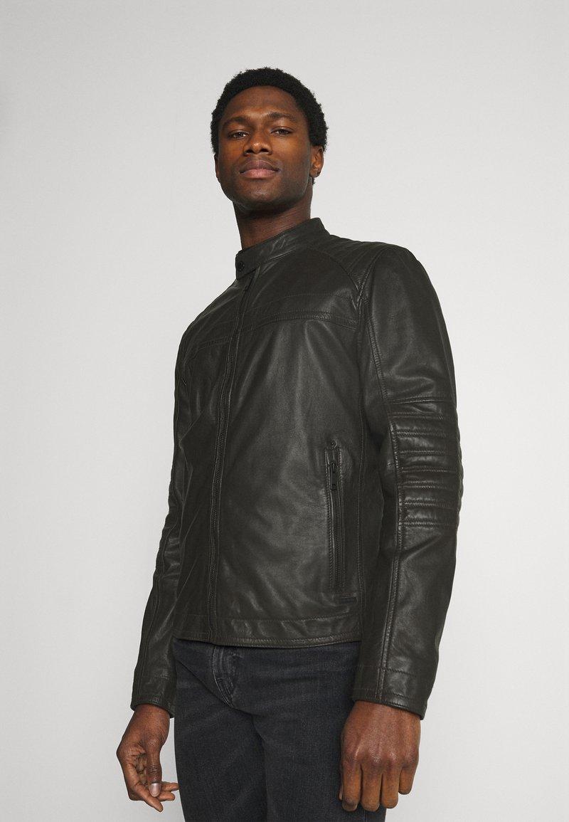 Strellson - DRIVER - Leather jacket - dark brown