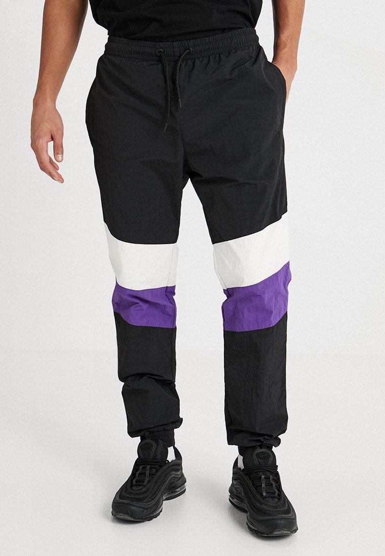 Urban Classics - CRINKLE TRACK PANTS - Tracksuit bottoms - black/white/ultraviolet