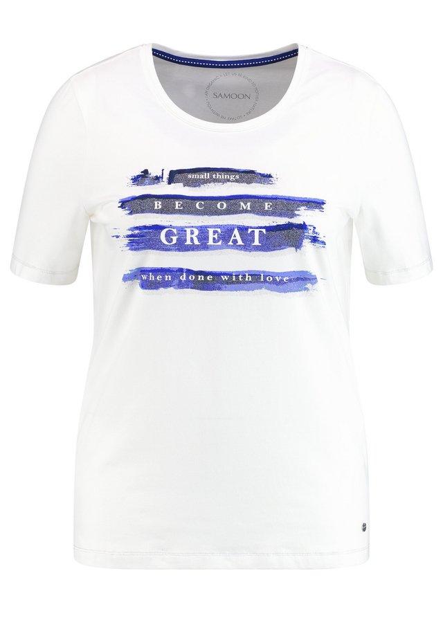 MIT STATEMENT-PRINT - Print T-shirt - offwhite gemustert