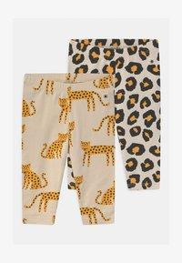 Lindex - LEO ANIMAL 2 PACK UNISEX - Leggings - Trousers - light beige - 0