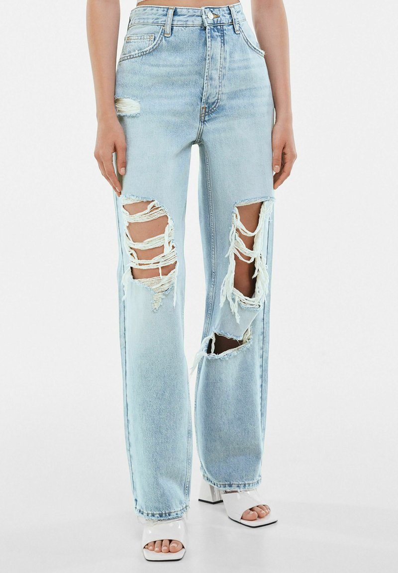 Bershka - Jeansy Straight Leg - light blue