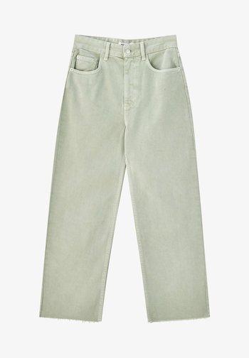 CROPPED - Straight leg jeans - mottled light green