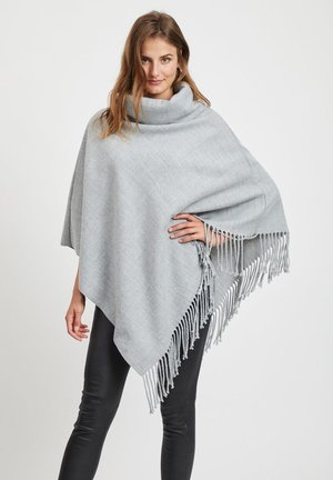 Poncho - light grey melange