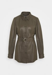 CUBENJA - Leather jacket - tarmac