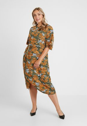 BELL SLEEVE MIDI DRESS - Day dress - orange/green