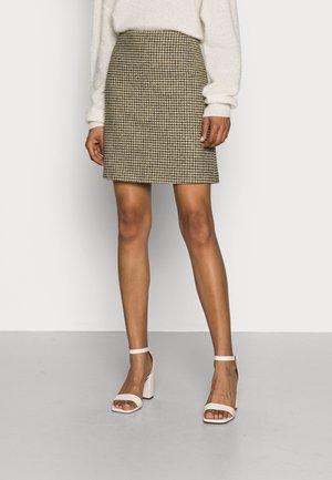 CHECK CHARLT - Mini skirt - dark khaki