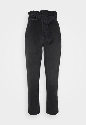 ONLJANE PAPERBAG BELT - Relaxed fit jeans - black denim