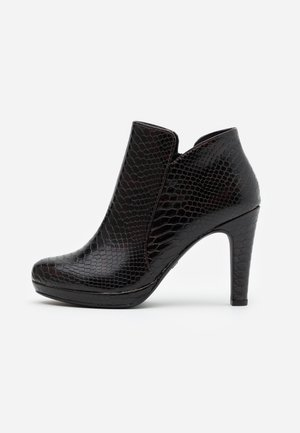 High heeled ankle boots - mahogany