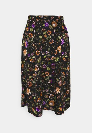 PCFALISHI SKIRT - A-linjainen hame - black/flowers