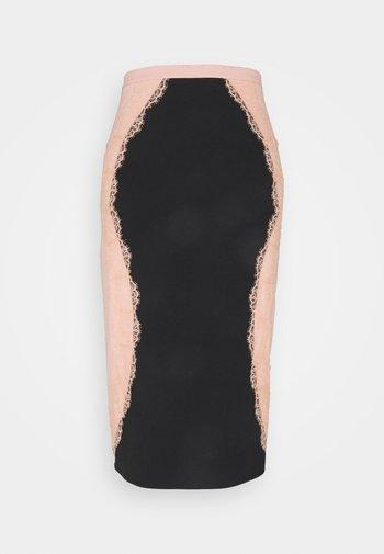 Pencil skirt - nero/rosa antico