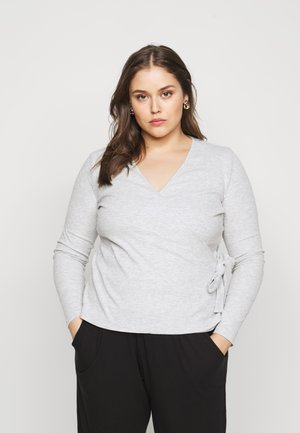 PCROSA WRAP LOUNGE  - Long sleeved top - light grey melange