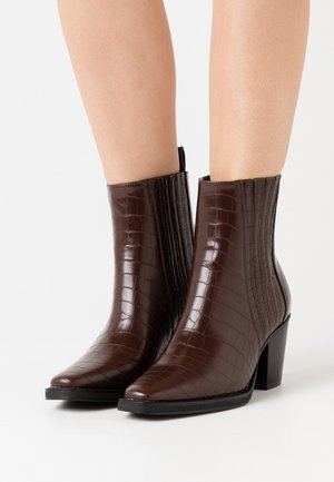 Cowboy/biker ankle boot - brown