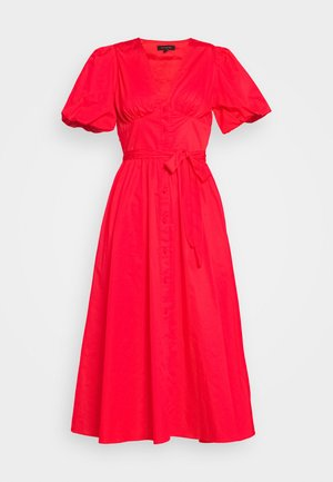 PUFF SLEEVE MIDI - Vestido camisero - siren red