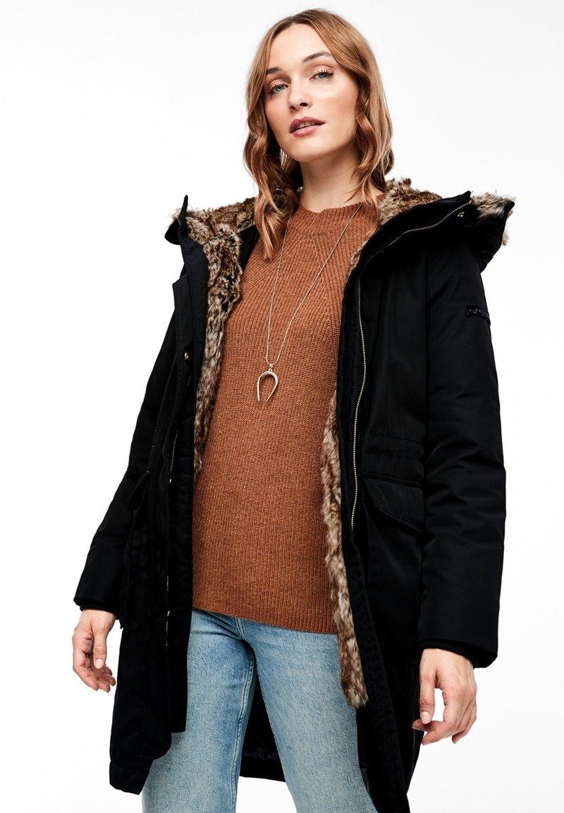 s.Oliver - MIT PLÜSCH-DETAILS - Winter coat - black